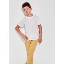 Camiseta manga corta algodón 155g  Niño blanca