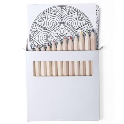 caja de lápices, mandala para colorear, set lápices de colores